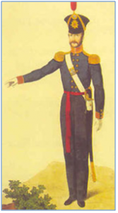 1840. Detail-oriented and punctilious in military matters, Granblaniar designed his brigade's full-dress pajamas.